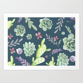 Cactus Watercolor Pattern 13 Art Print