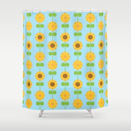 Kawaii Sunflowers Shower Curtain