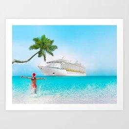 Christmas holidays on Caribbean cruise Art Print