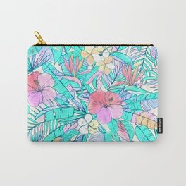 Pretty Pastel Hawaiian Hibiscus Print Carry-All Pouch