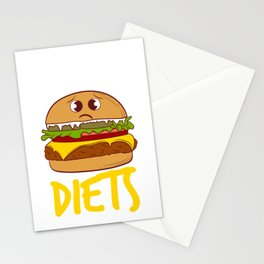 """""""I Hate Diets"""" Delicious Burger Hamburger T-shirt Design Patty Buns Grilled Charcoal Cooked Ham Stationery Cards"""