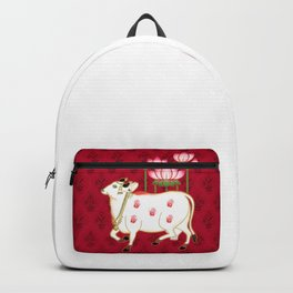 HOLY COW - Indian Pichwai Art Crimson Pink  Backpack