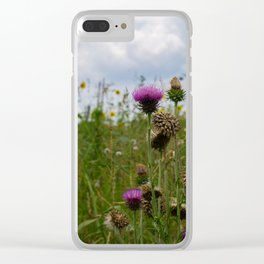 Sprouting Flowers Clear iPhone Case
