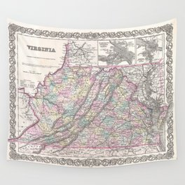 Vintage Map of Virginia (1855) Wall Tapestry