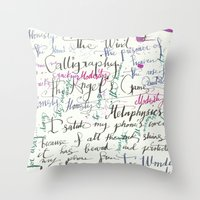 calligraphy Throw Pillows featuring Calligraphy Spill by Louis Franz
