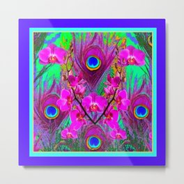 Purple Blue Green Peacock Feathers Lavender Orchid Patterns Art Metal Print