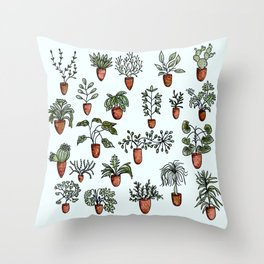 Succulent Houseplants in Terracotta Pots, Watercolor Cacti & Plant Wall Art Throw Pillow
