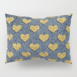 Gold Heart Blue Jean Denim Effect Pattern Pillow Sham
