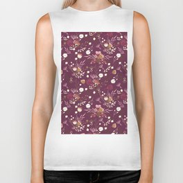 Burgundy white blush pink hand painted floral Biker Tank