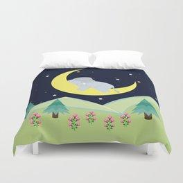 Elephant on the moon , nursery decor , Duvet Cover