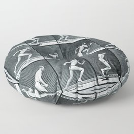 Time Lapse Motion Study Man Running Monochrome Floor Pillow