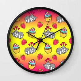 Cute happy sleeping dreaming Kawaii baby raccoon, sweet red summer strawberries and colorful rainbow yummy cupcakes sunny bright yellow and raspberry pink design. Nursery decor. Wall Clock