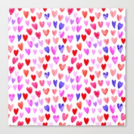 Watercolor Hearts pattern love gifts for valentines day i love you Canvas Print