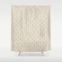Fish Hooks Pattern in Neutral Beige Shower Curtain