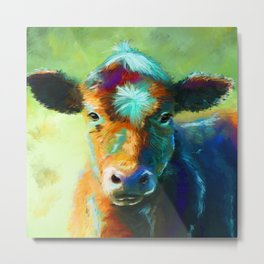 Rainbow Calf Abstract Cow painting Metal Print