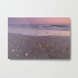 The Beach Of The Shells. Purple sunset Metal Print