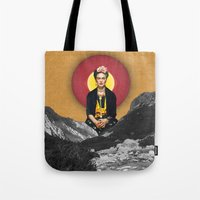 frida Tote Bags featuring FRIDA by Estera Lazowska
