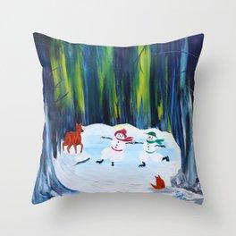 Christmas Night with dancing snowmen Throw Pillow