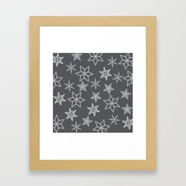Simple Snowflakes On Grey Background Framed Art Print