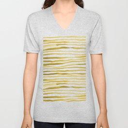 Irregular watercolor lines - yellow Unisex V-Neck