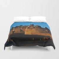 edinburgh Duvet Covers featuring Edinburgh Castle by merialayne