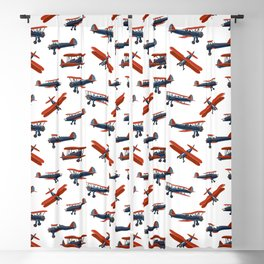 Red White and Blue Biplanes Blackout Curtain
