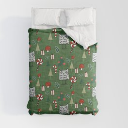 Christmas Owl Green #Christmas #Holiday Comforters