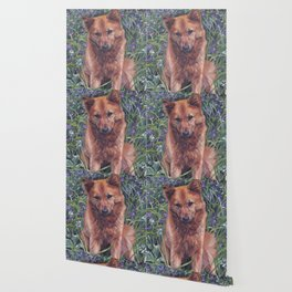 Finnish Spitz dog art painting from an original painting by L.A.Shepard Wallpaper