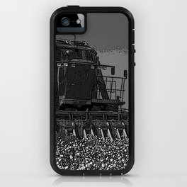 Black & White Cotton Harest Pencil Drawing Photo iPhone Case