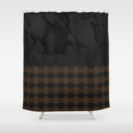 Black Marble with Bronze DecalPattern Shower Curtain