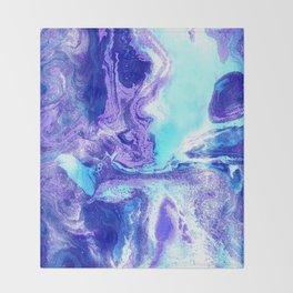 Swirling Marble in Aqua, Purple & Royal Blue Throw Blanket