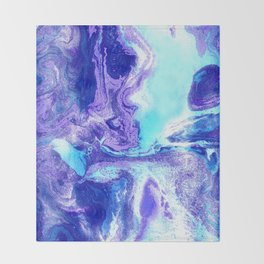 Swirling Marble in Aqua, Purple & Royal Blue Throw Blanket