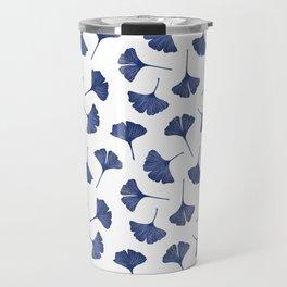 Blue Ginkgo Biloba Pattern Travel Mug