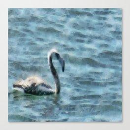 Fledgling Flamingo At Sea Watercolor Canvas Print