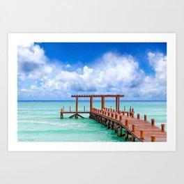 Beautiful Caribbean Sea Pier On The Beach At Playa del Carmen - Mexico Art Print