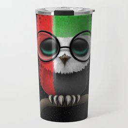Baby Owl with Glasses and UAE Flag Travel Mug