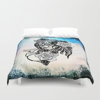 decal Duvet Covers featuring bw sugarskull by haroulita