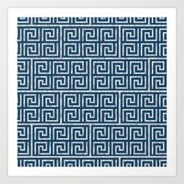 Oriental Symbol (Blue & Silver) Art Print