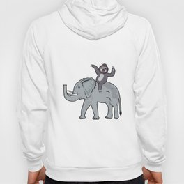 Sloth Riding An Elephant Funny Gift Hoody