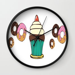 Donuts and a Cupcake White Background Wall Clock
