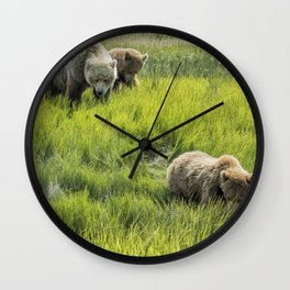 A Mother and Her Two Cubs, No. 3 Wall Clock