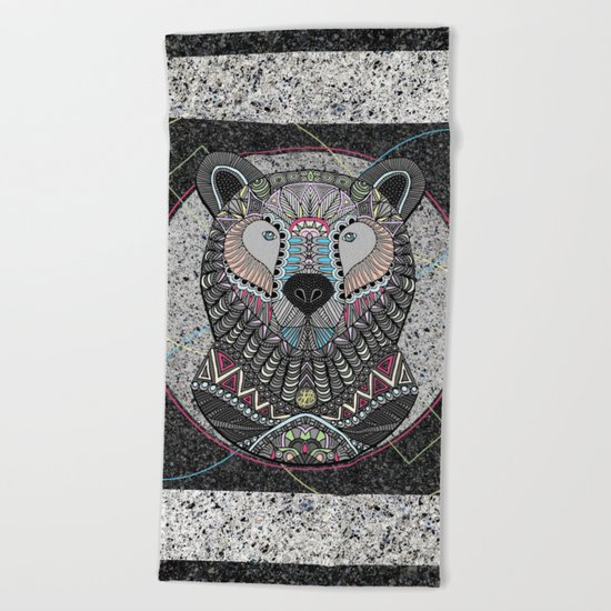 Neon Tribal Bear Beach Towel