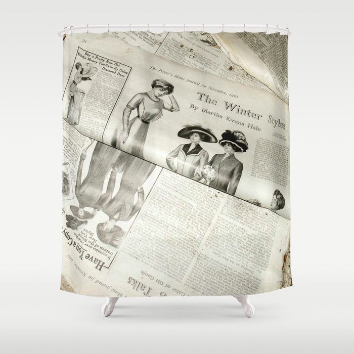 Old Vintage Newspaper Left To The ElementsWinter Styles Shower Curtain By Andreajeanco