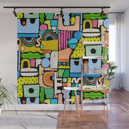 Color Block Collage Wall Mural