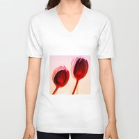 tulips V-neck T-shirts featuring Tulips by Julia Tomova