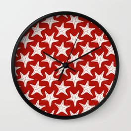 Maritime Red & White Starfish Pattern- Mix & Match with Simplicity of Life Wall Clock