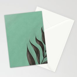 Image of a plant on a mint background Stationery Cards