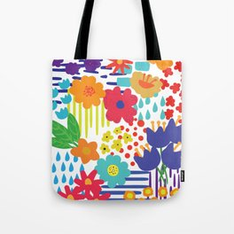 Colorful flowers and Shapes Tote Bag