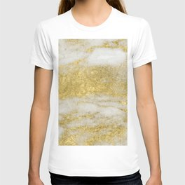 Marble - Glittery Gold Marble and White Pattern T-shirt