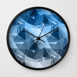Abstract polygonal pattern.Blue, grey triangles. Wall Clock